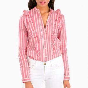 Tuckernuck Rochelle Behrens Ruffle Shirt Pink L